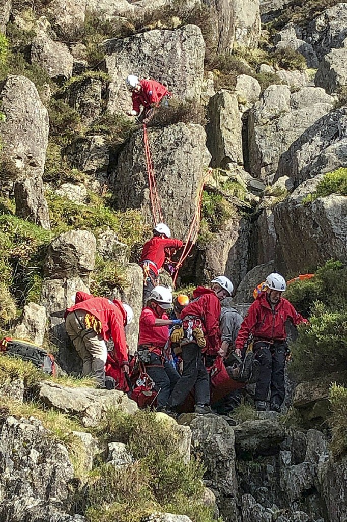 The rescue scene in Cwm Idwal. Photo: Ogwen Valley MRO
