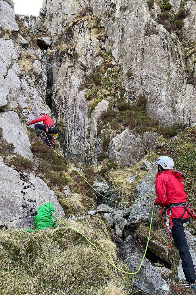 Rescuers at the scene in the gully. Photo: Daz Edkins/OVMRO
