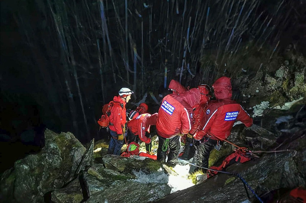 Rescuers at the site of the incident on Tryfan. Photo: Ogwen Valley MRO