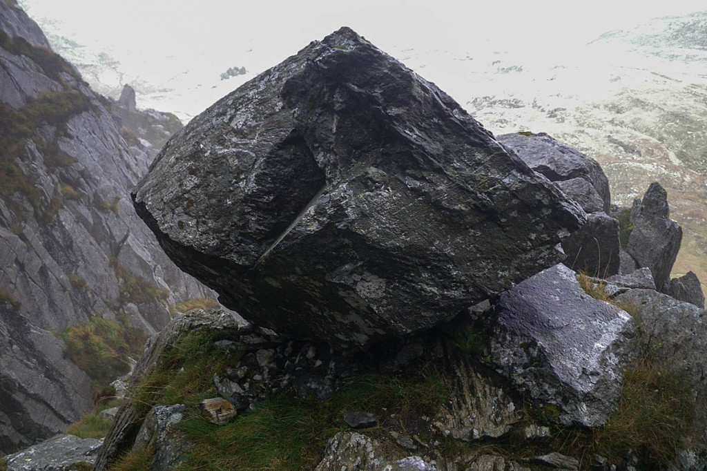 The boulder stands above North Gully on the East Face of Tryfan. Photo: Chris Lloyd/Ogwen Valley MRO