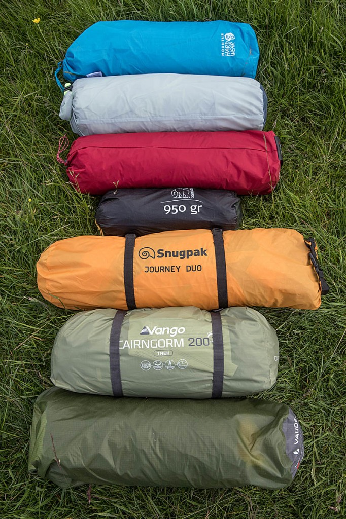 The packed tents: from top, Mountain Hardwear, Jack Wolfskin, MSR, Nordisk, Snugpak, Vango and Vaude. Photo: Bob Smith/grough