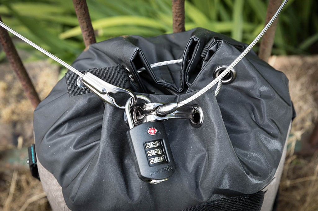 The cable locking system secures the bag to an object and also stops the pack being opened. Photo: Bob Smith/grough