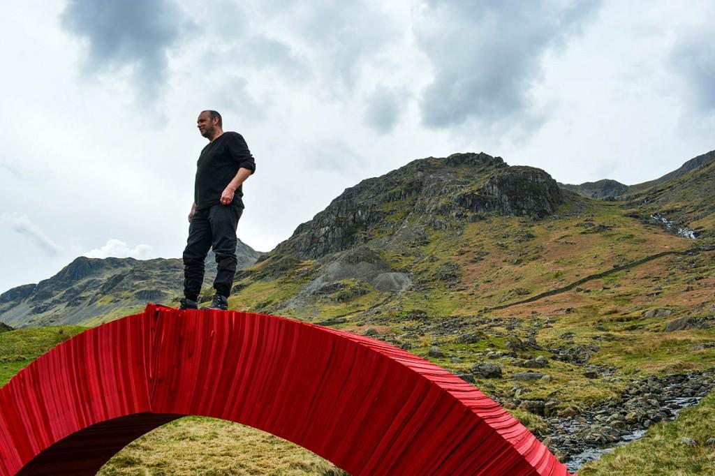Artist Steve Messam stands on the bridge. Photo: Greg Stephenson