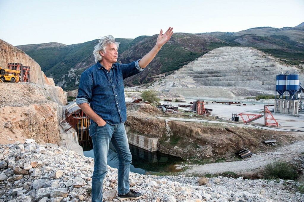 Ulrich Eichelmann, the founder of the Vienna-based NGO RiverWatch, at the Kalivaç Dam on the Vjosa River in Albania. Photo: Andrew Burr/Blue Heart