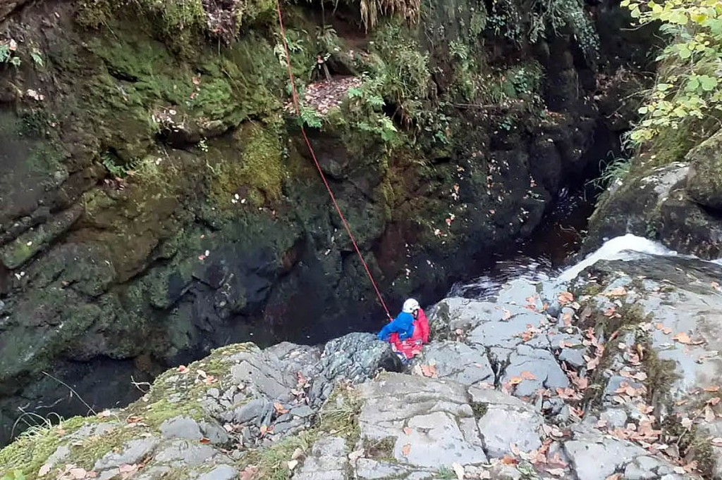 The rescue scene in the Aira Force gorge. Photo: Patterdale MRT