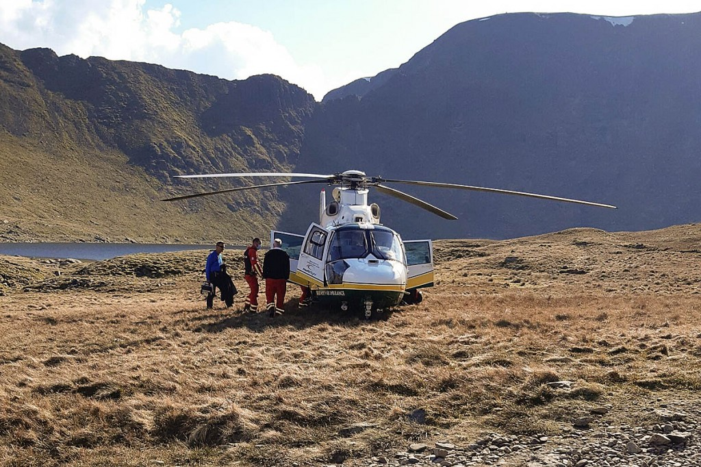 The Great North Air Ambulance at Red Tarn. Photo: Patterdale MRT