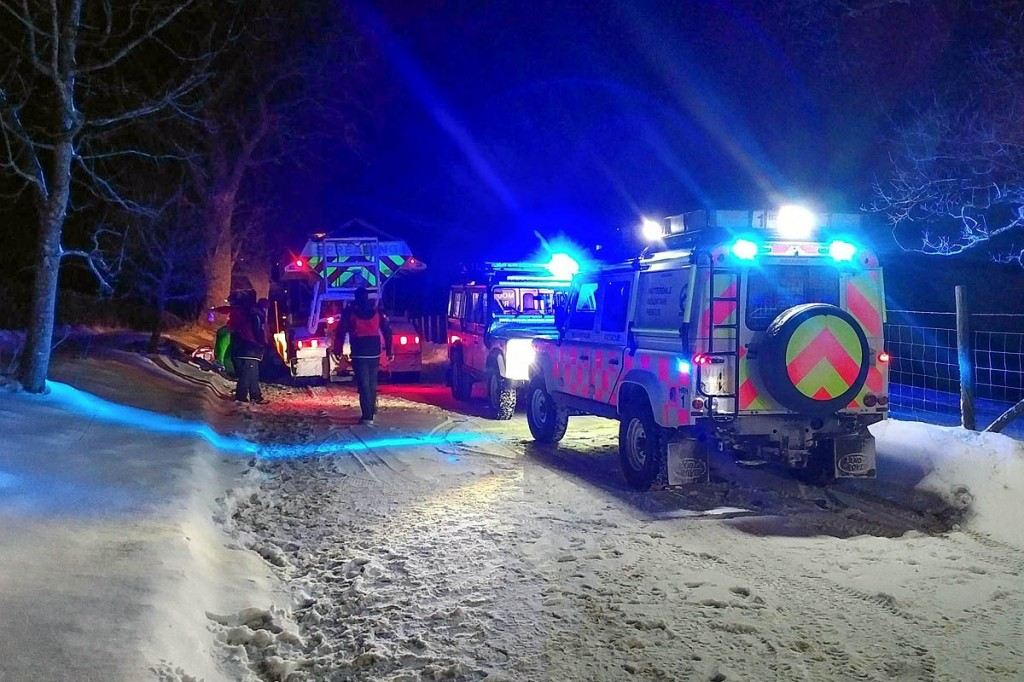 Mountain rescuers at the scene of the gritting lorry incident. Photo: Patterdale MRT
