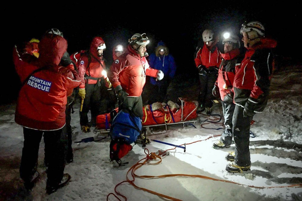 Rescuers at the scene on Dove Crag. Photo: Patterdale MRT