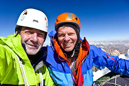 Paul Ramsden, left, and Mick Fowler on the summit of Hagshu