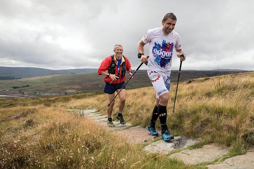 Pavel Paloncý makes the ascent towards Withins Height from Walshaw Dean, in the company of local runner Gary Chapman. Photo: Bob Smith/grough