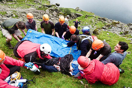 Rescuers at work with Tom after his fall from Jack's Rake