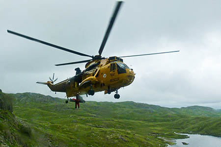 Tom Lister is winched into the RAF Sea King