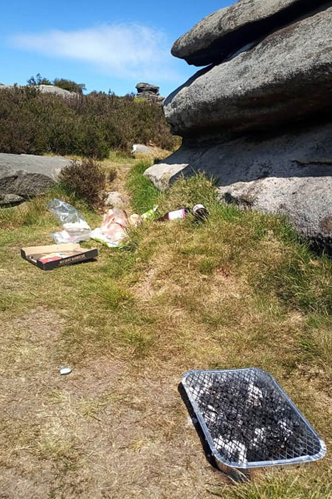 Litter and a used barbecue in the national park. Photo: PDNPA