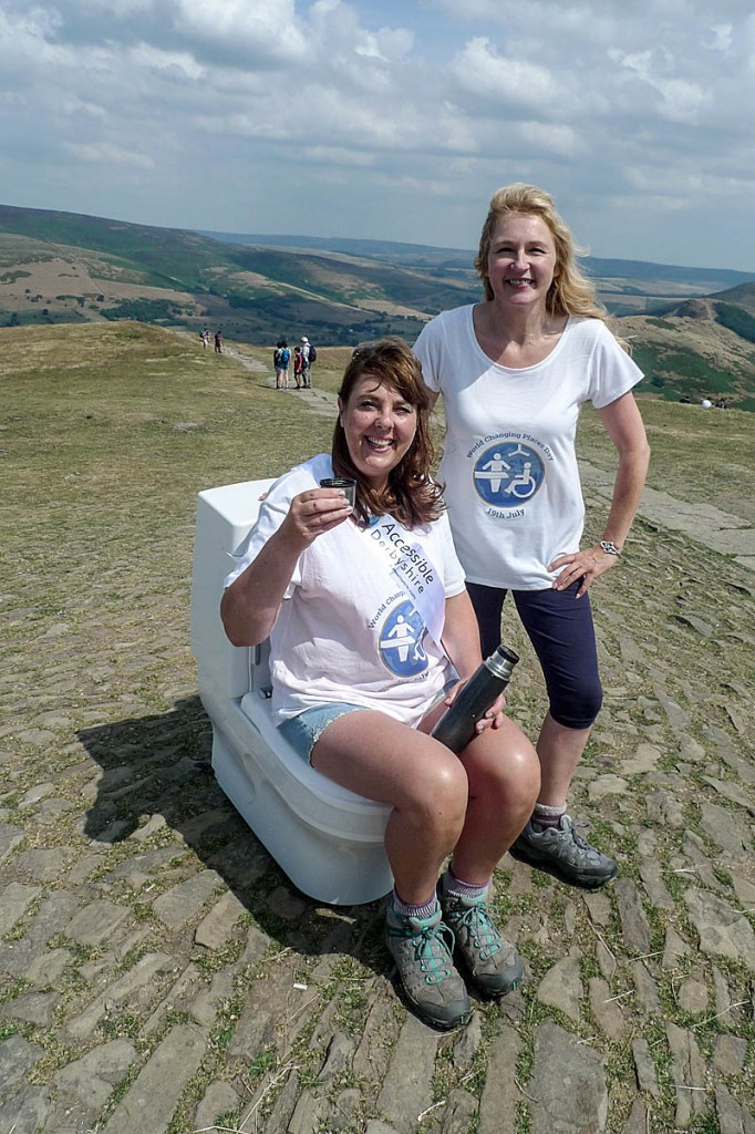 What a relief: Gillian Scotford, left, and Jane Carver of Accessible Derbyshire, on the summit
