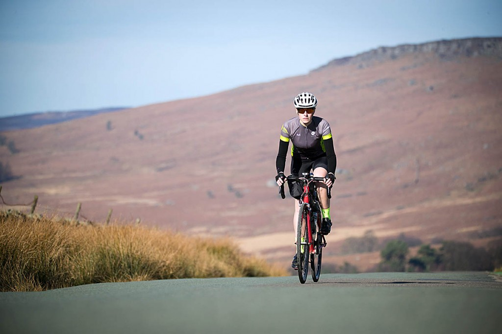 Lorna Fisher trains for her Pedalling the Parks challenge. Photo: Rod Kirkpatrick/F Stop Press