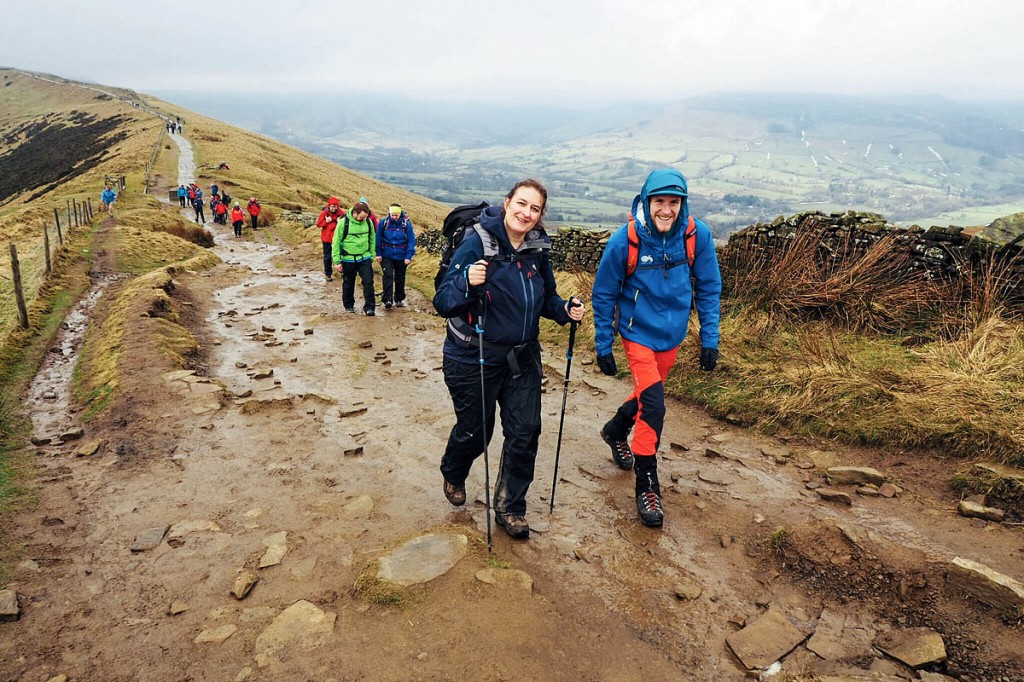 Walkers get into their stride on the Great Ridge during the Mend Our Mountains event in the Peak District