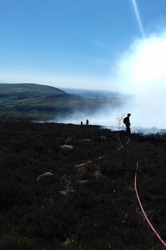 National park staff have helped in the firefighting efforts near Stalybridge, Tameside. Photo: Dave Watts
