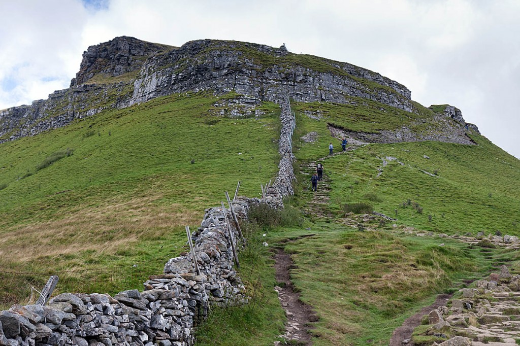 The man fell on the rock bands near the summit of Pen-y-ghent. Photo: Bob Smith/grough