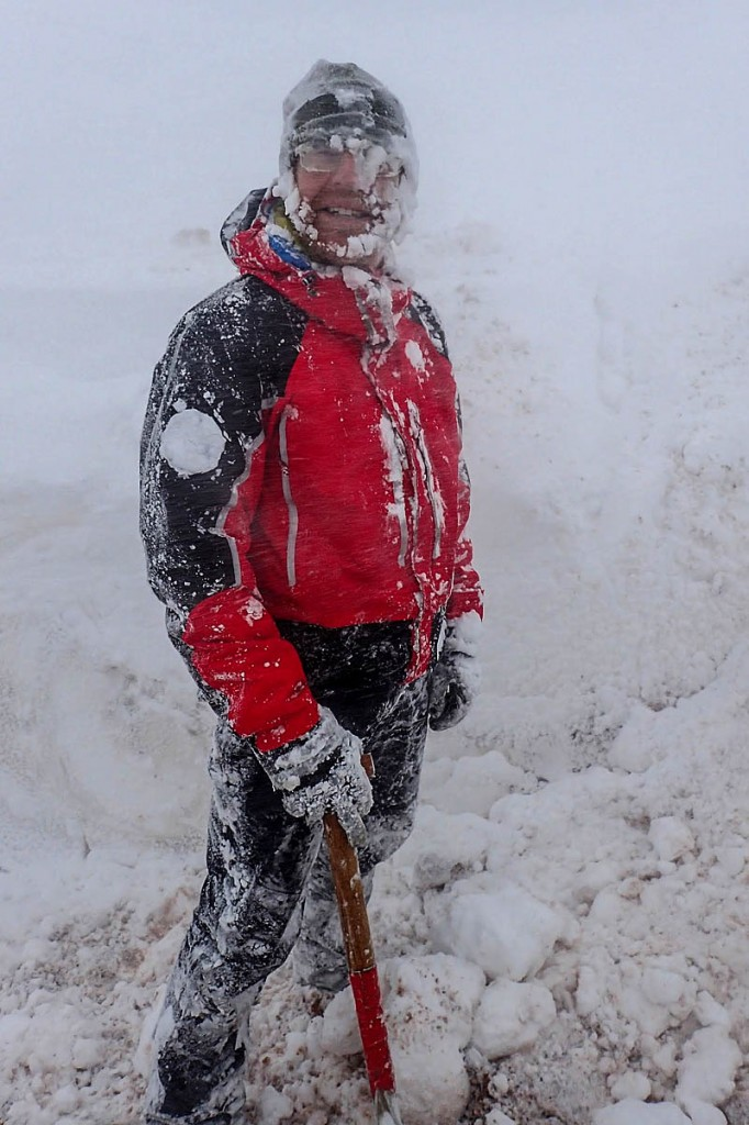 A mountain rescue team member battles the Beast from the East. Photo: Matt Nightingale