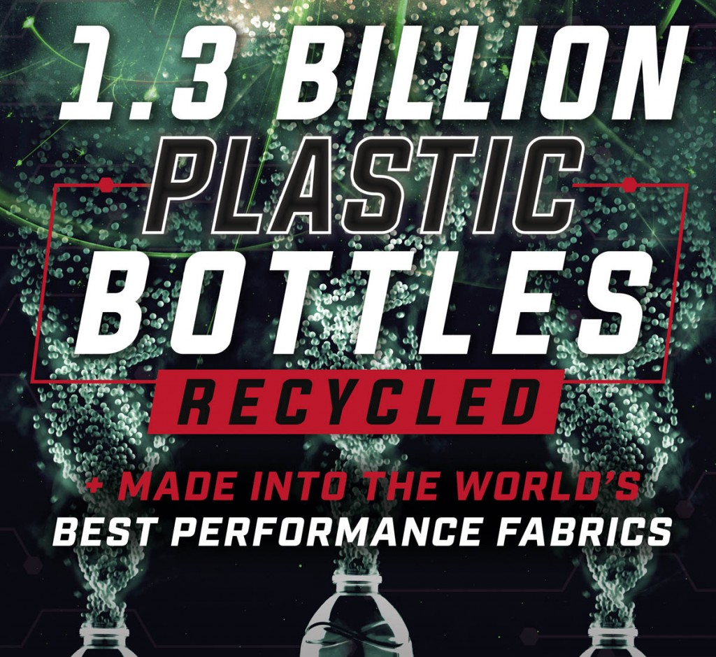 Plastic bottles are recycled and turned into Polartec fabrics