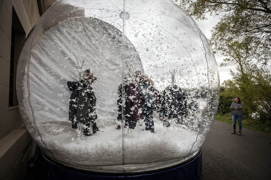 ThermoPlume fills the air in the snow globe in Newcastle Exhibition Park. Photo: Bob Smith/grough