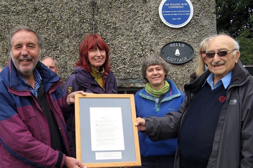 Ramblers vice-presidents Paddy Tipping, Janet Street-Porter, Kate Ashbrook and Jerry Pearlman at Stalling Busk, where they gathered to celebrate the unveiling of a plaque commemorating the Ramblers' work there on the freedom-to-roam legislation