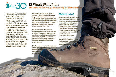 The online information includes a 12-week walking plan