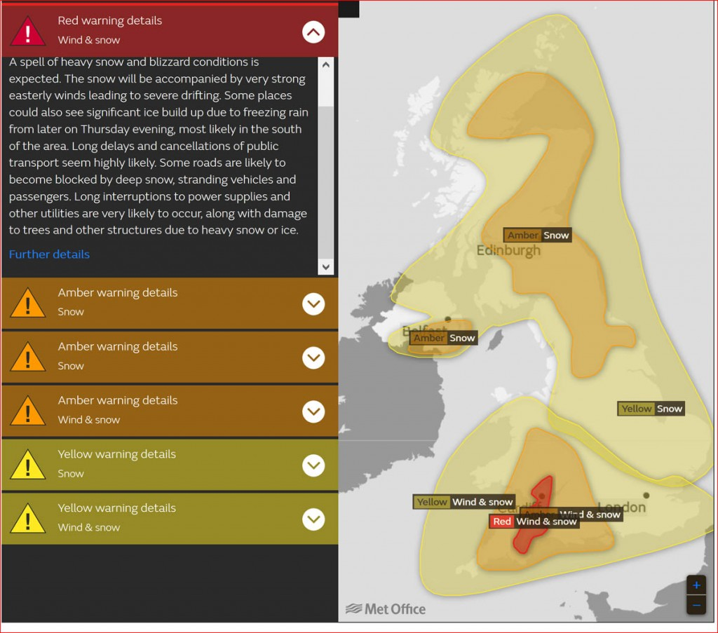 Red weather warnings have been issued for the South-West