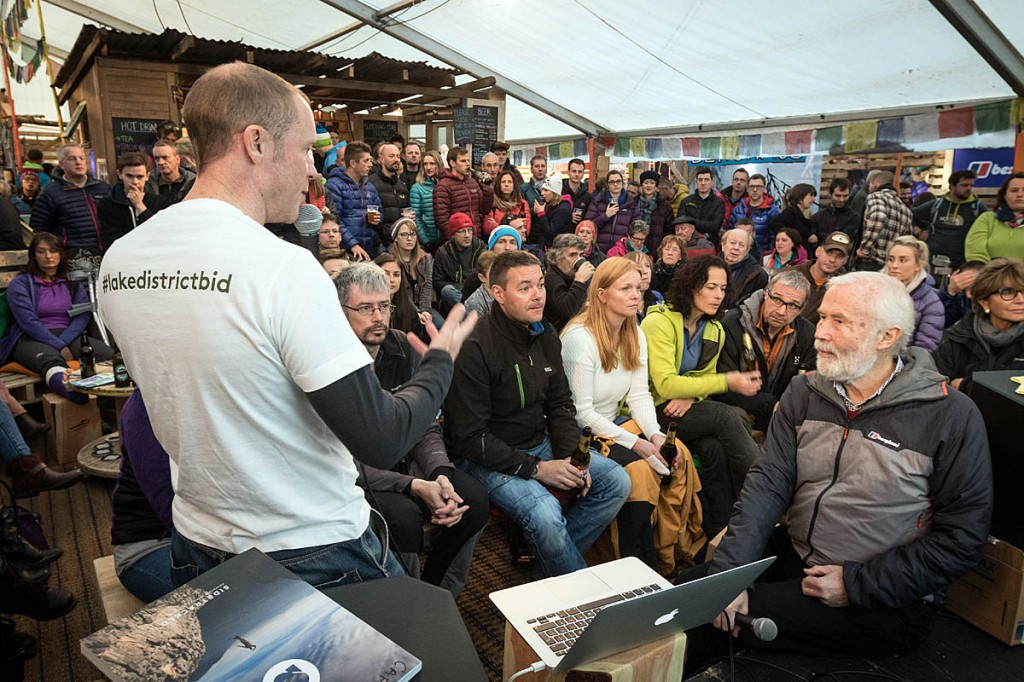 Lake District chief executive Richard Leafe, left, campaigns for the bid at Kendal Mountain Festival with acclaimed mountaineer Sir Chris Bonington. Photo: Bob Smith/grough
