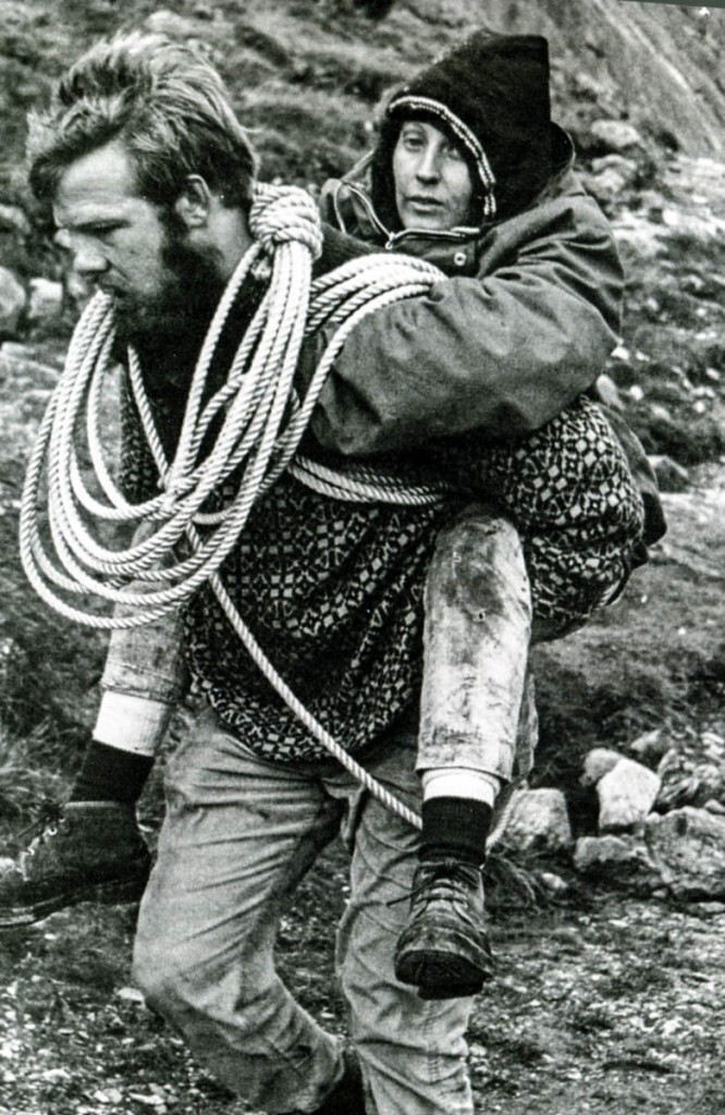 Rescue techniques have come on a little since this incident in 1968 in which Roger Jones is seen carrying Michelle Edwards to safety after 17 hours on a Tryfan ledge. Photo: OVMRO
