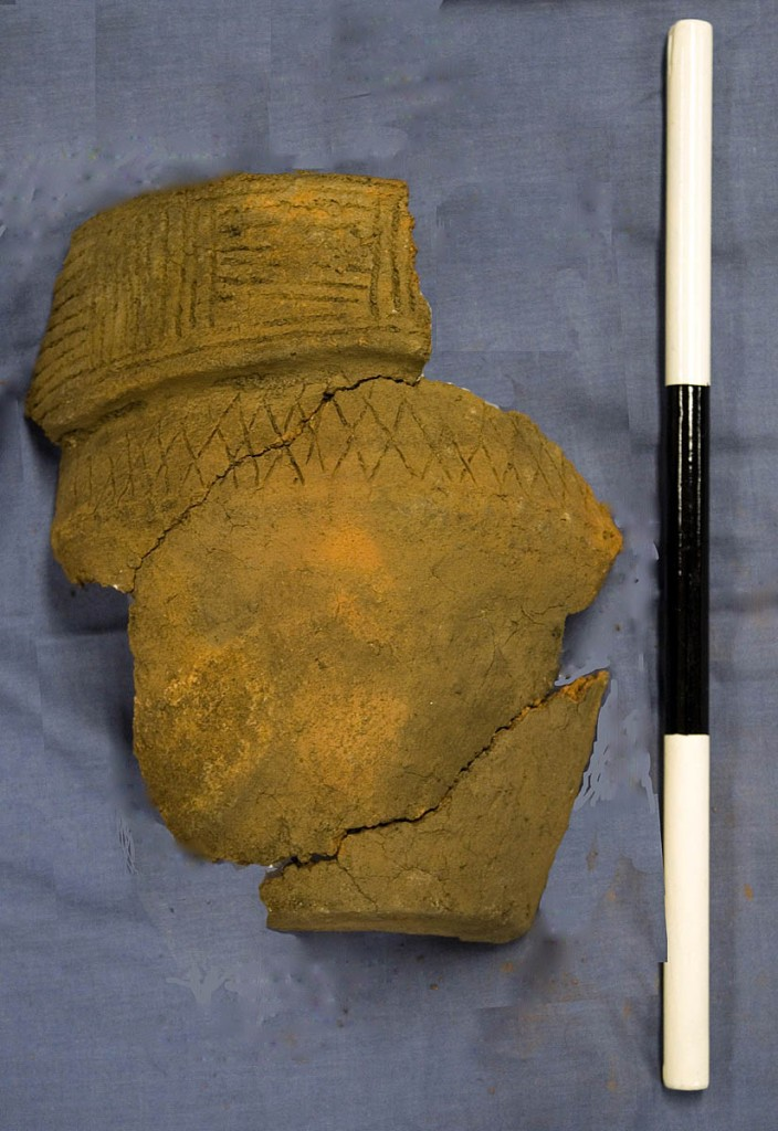 Remains of the rescued 3,500 year old pot (height 22cm) are being examined by archaeologists