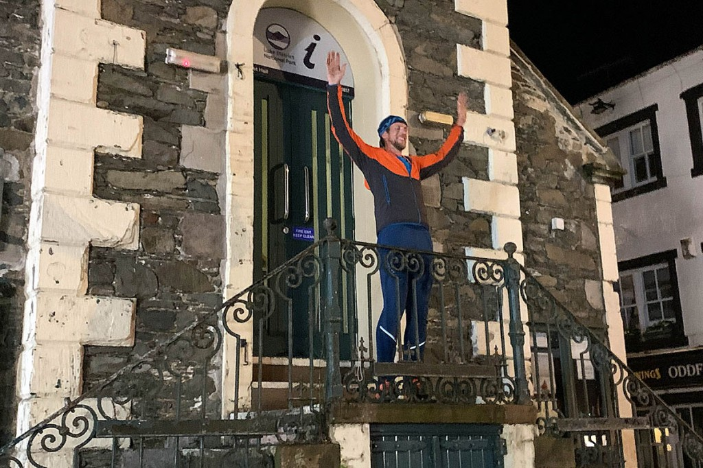Ross Jenkin celebrates on the steps of the Moot Hall in Keswick