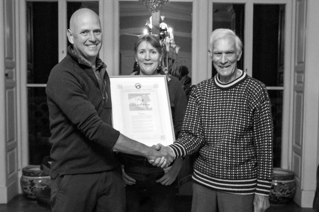 Mike Nixon, right, presents the award to Roy Henderson, with Jan Beedham. Picture: Becx Carter