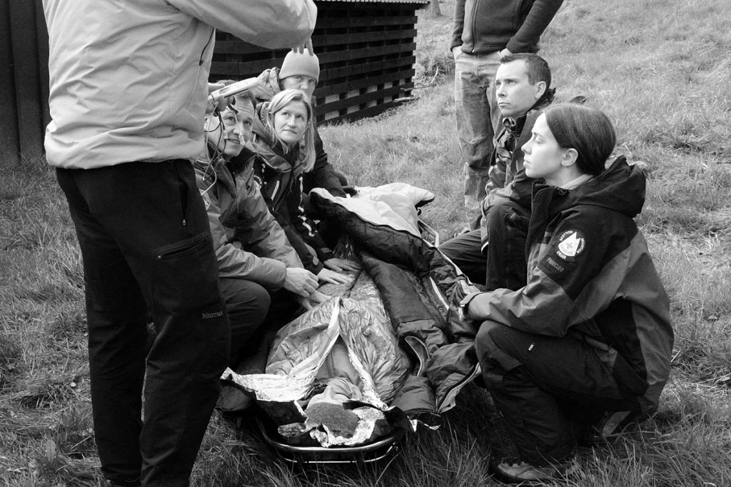 Rescuers practise their medical skills