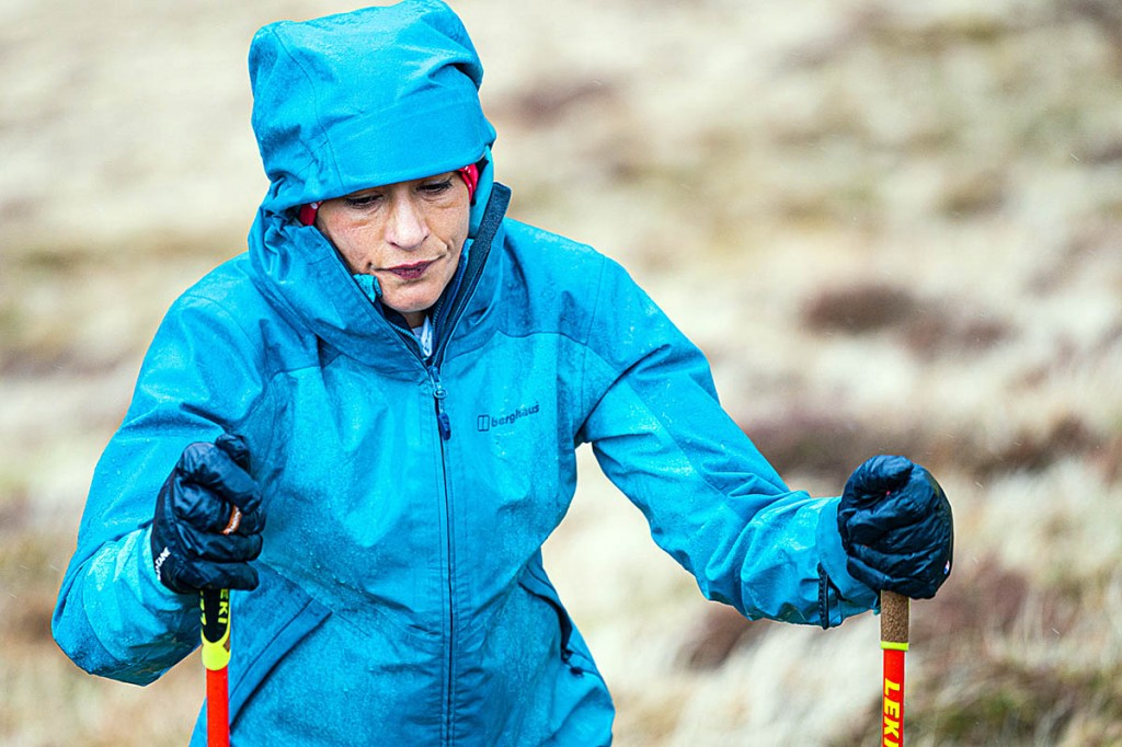 Sabrina Verjee found the going tough on her fourth day on the fells. Photo: Steve Ashworth