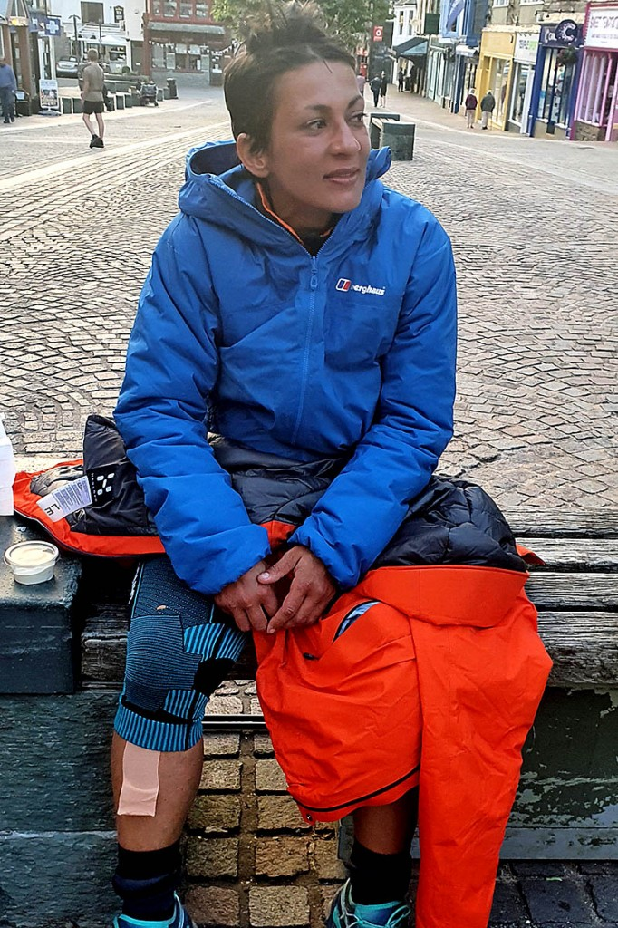 Sabrina Verjee in contemplative mood at the end of her challenge in Keswick. Photo: Chris Lines