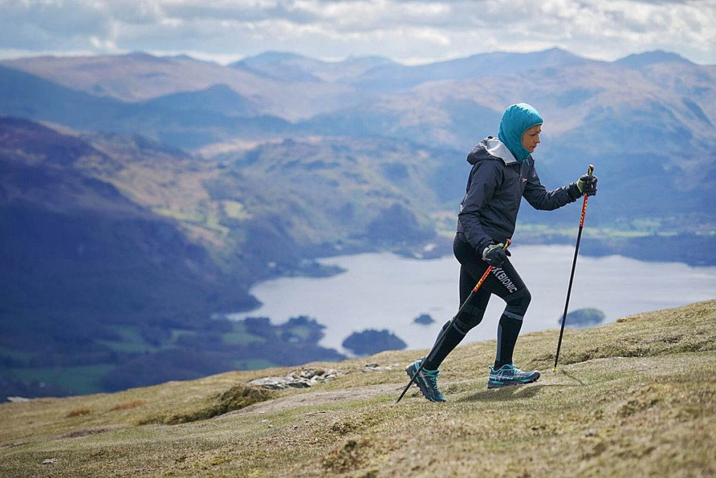 Sabrina Verjee ascends Skiddaw Little Man on the third day of her challenge. Photo: Steve Ashworth