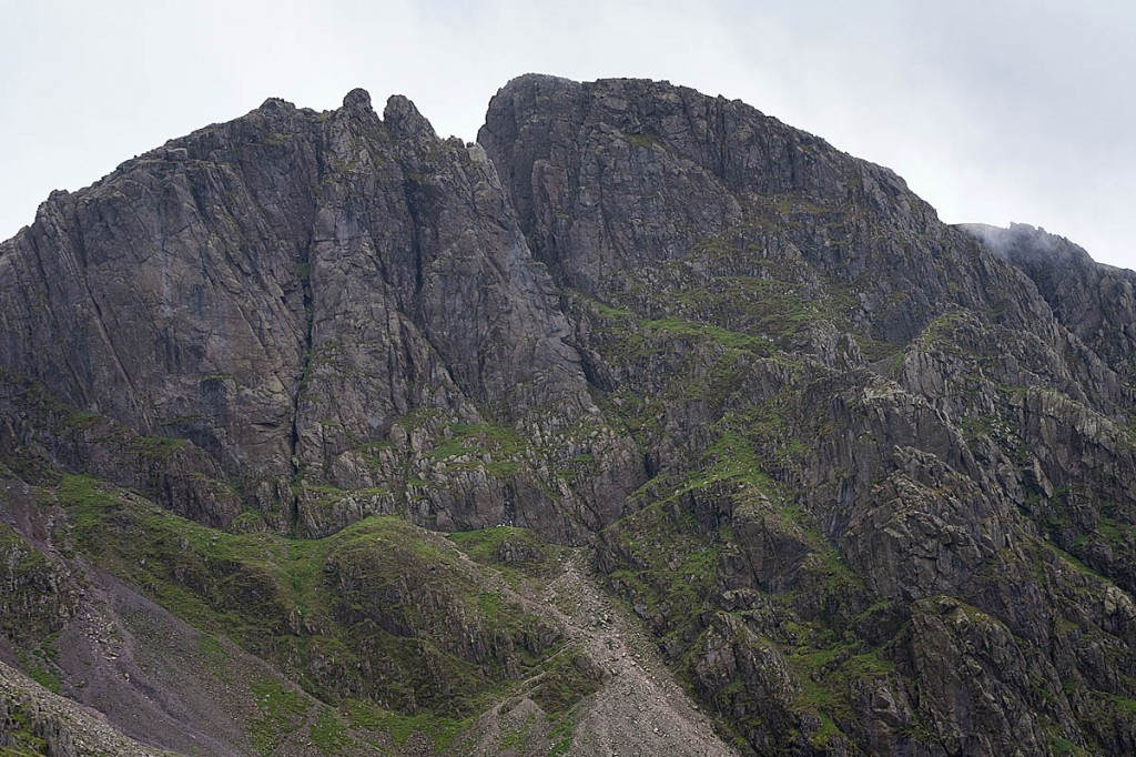 The climbers were stuck in the chimney, centre left, on Scafell Crag. Photo: Bob Smith/grough