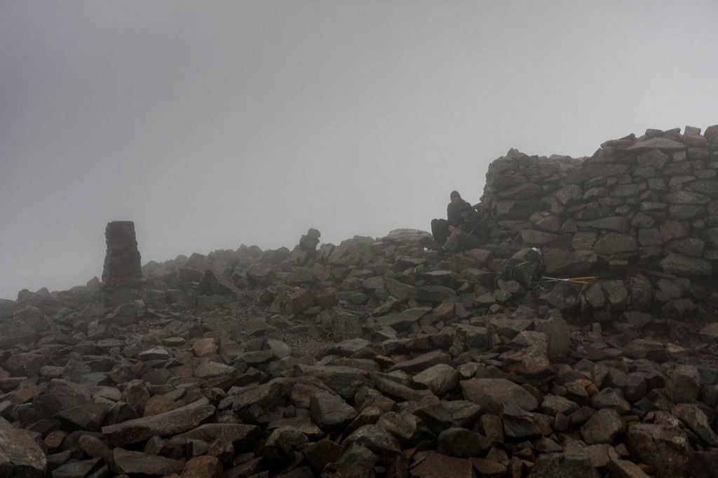 The summit of Scafell Pike was in mist. Photo: Bob Smith/grough