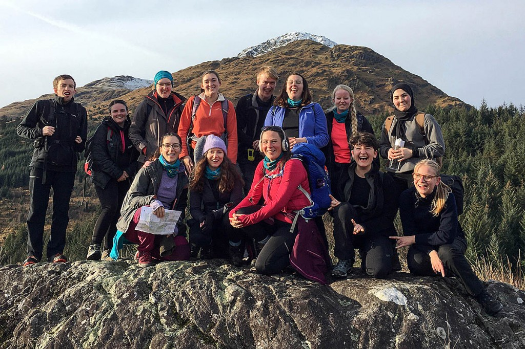 A group of young people enjoy an outing in the Arrochar Alps