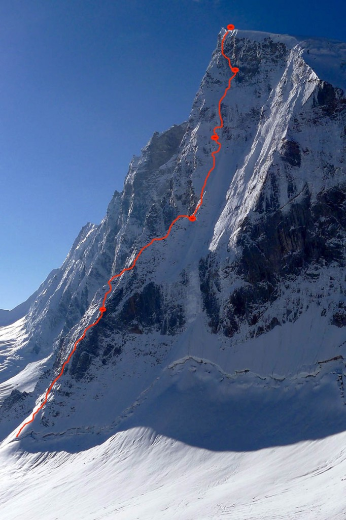 The line taken by the pair during their ascent, with bivouacs shown as blobs
