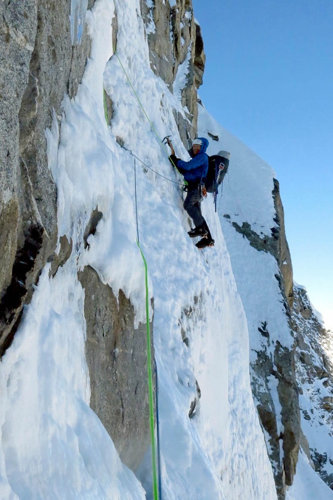Mick Fowler leads a pitch on day four on the face of the mountain