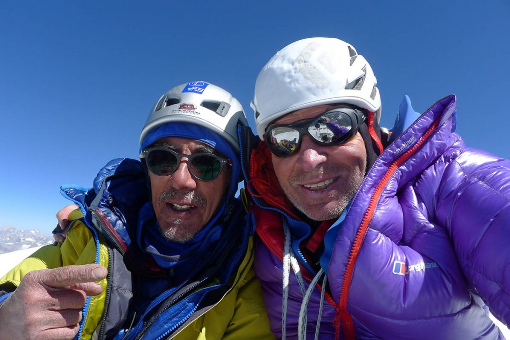Vic Saunders, left, and Mick Fowler pose for a selfie on the summit of Sersank. Photo: Mick Fowler/Berghaus