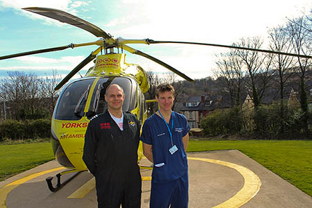 Yorkshire Air Ambulance pilot Andrew Lister, left, and Dr Stuart Reid at the existing helipad site