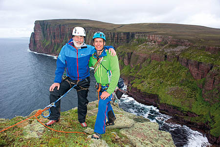 Sir Chris Bonington and Leo Houlding on the summit of the Old Man of Hoy. Photo: Berghaus