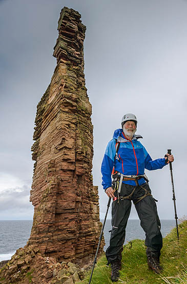 Sir Chris Bonington prepares to climb the Old Man of Hoy. Photo: Berghaus