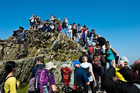 Crowds on Snowdon's summit. Photo: Ray Wood