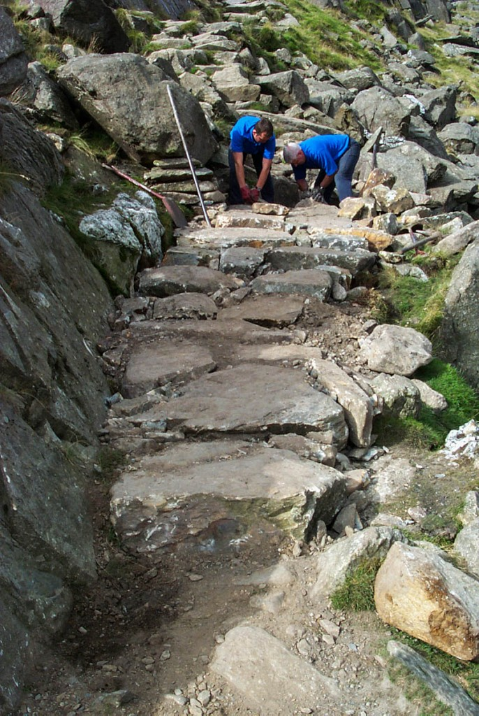 Work is carried out on one of Snowdon's paths