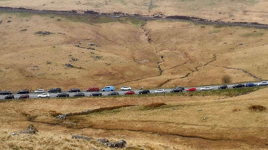 Vehicles line the road at Pen y Gwryd. Photo: Snowdonia NPA