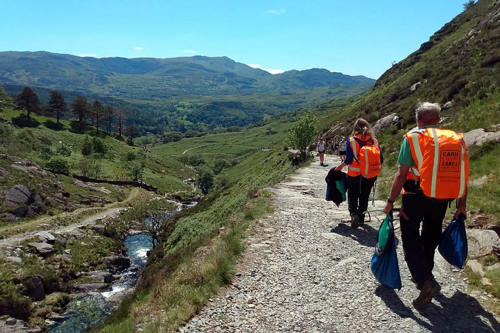 Volunteers at work picking litter in the national park